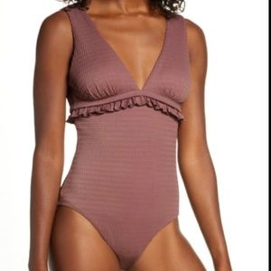 Chelsea28 XS Brown Ruffle One Piece Swimsuit